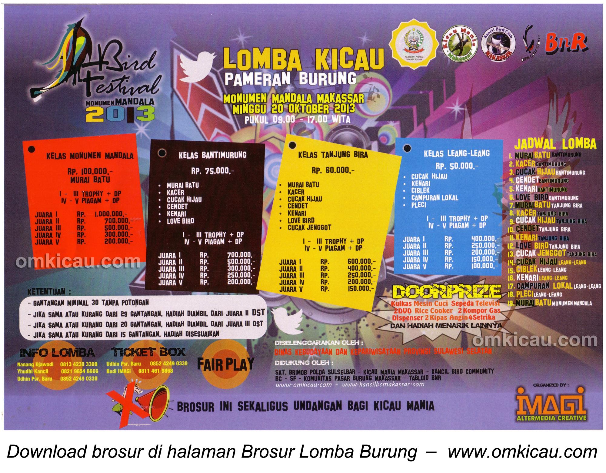 Brosur Lomba Burung Berkicau Bird Festival, Makassar, 20 Oktober 2013
