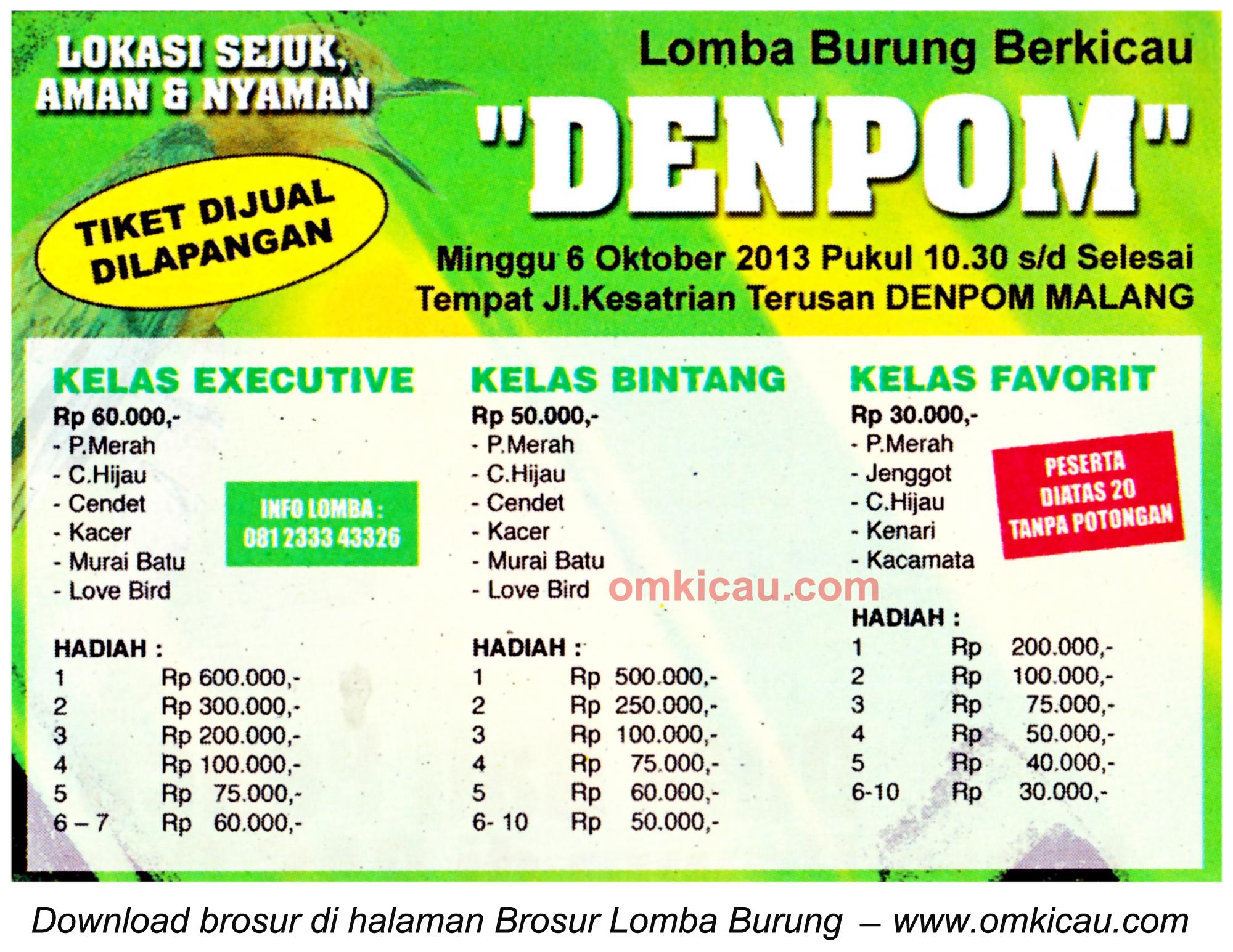 Brosur Lomba Burung Berkicau Denpom, Malang, 6 Oktober 2013
