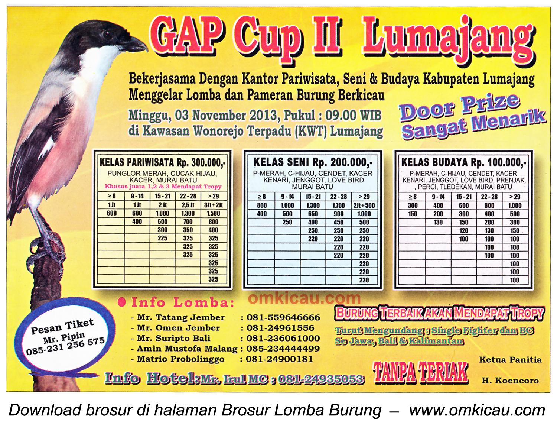 Brosur Lomba Burung Berkicau GAP Cup II, Lumajang, 3 November 2013