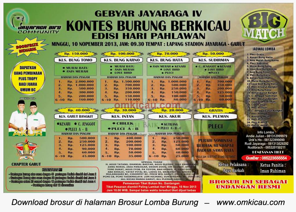 Brosur Lomba Burung Berkicau Gebyar Jayaraga IV, Garut, 10 November 2013