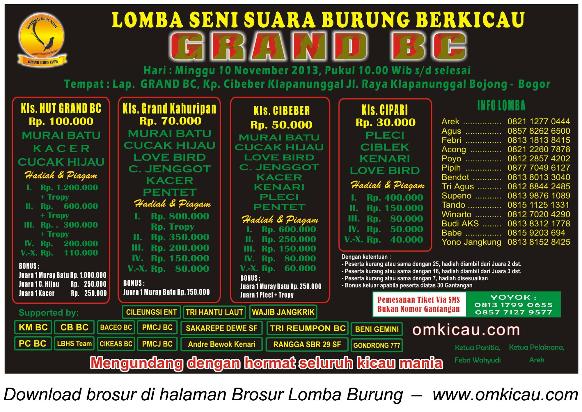 Brosur Lomba Burung Berkicau Grand BC, Bogor, 10 November 2013