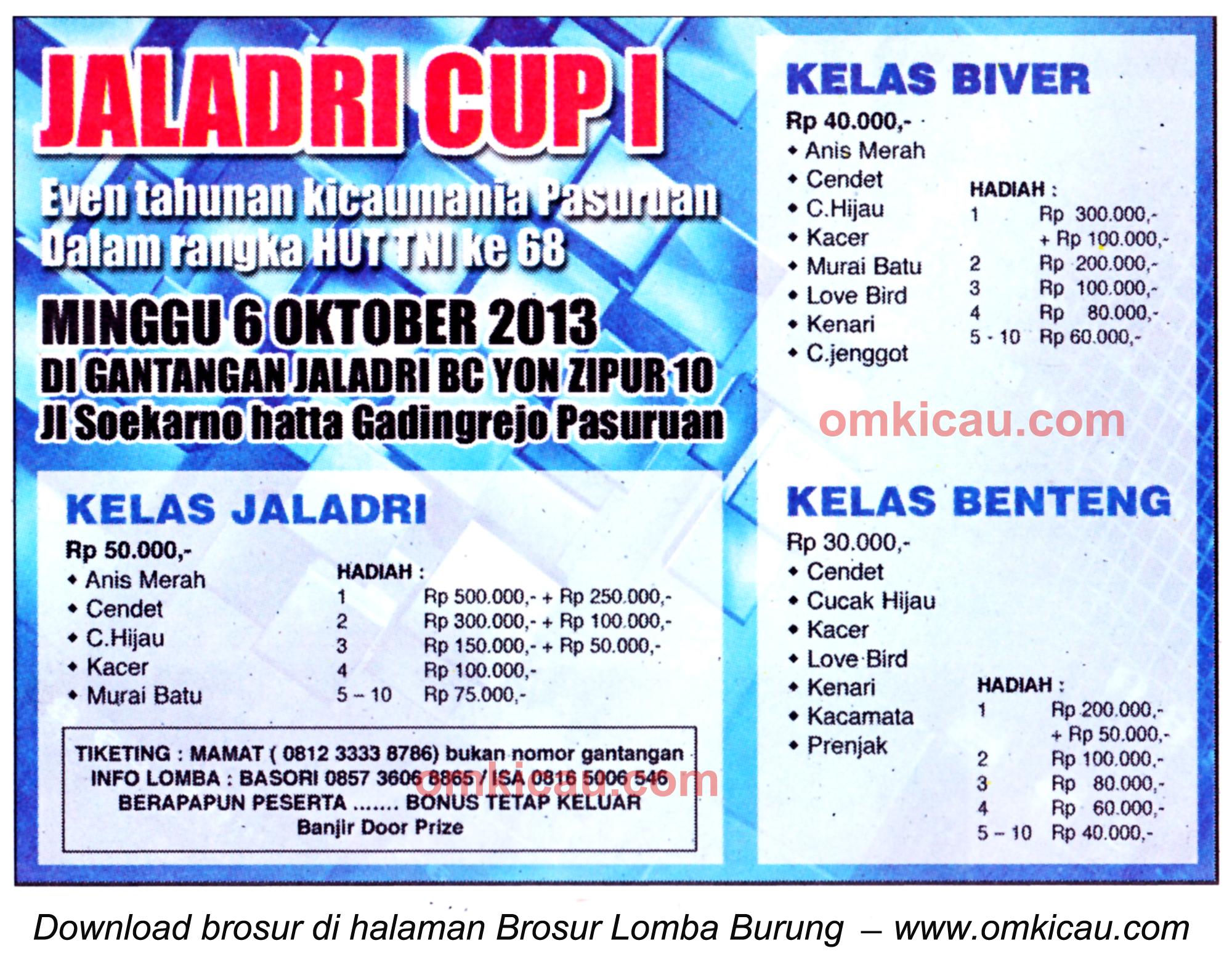 Brosur Lomba Burung Berkicau Jaladri Cup, Pasuruan, 6 Oktober 2013