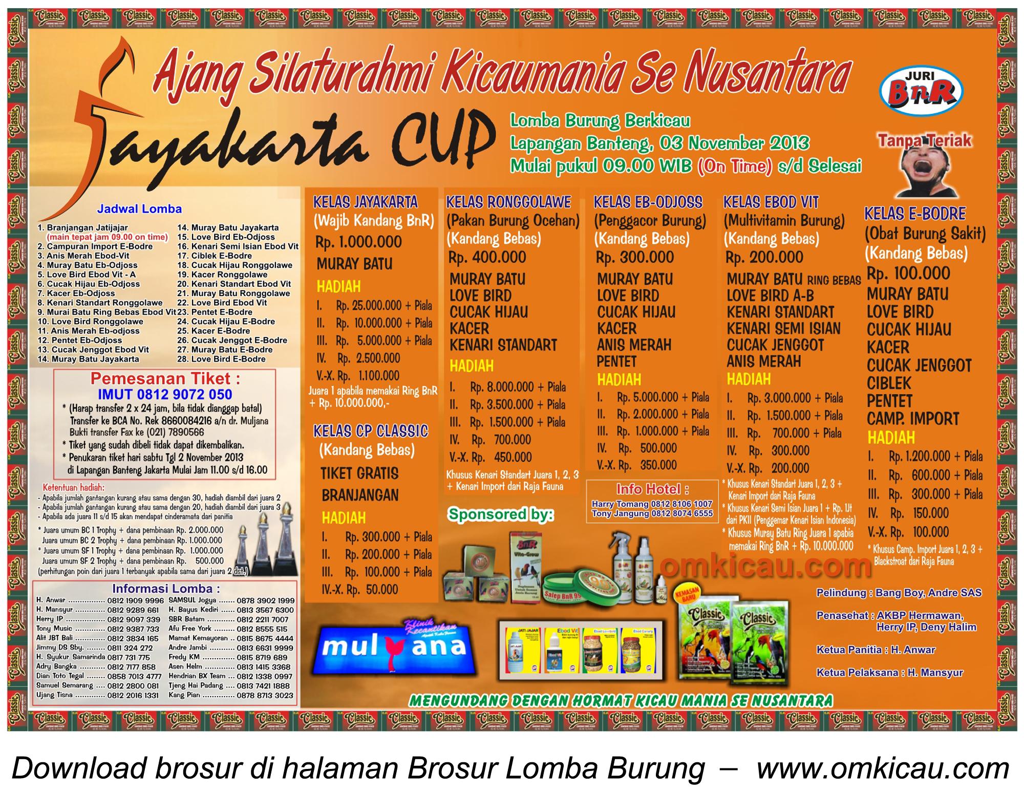 Brosur Lomba Burung Berkicau JAYAKARTA CUP, Jakarta, 3 November 2013