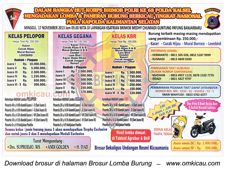 Brosur Lomba Burung Berkicau Piala Kapolda Kalsel, Banjarbaru, 17 November 2013