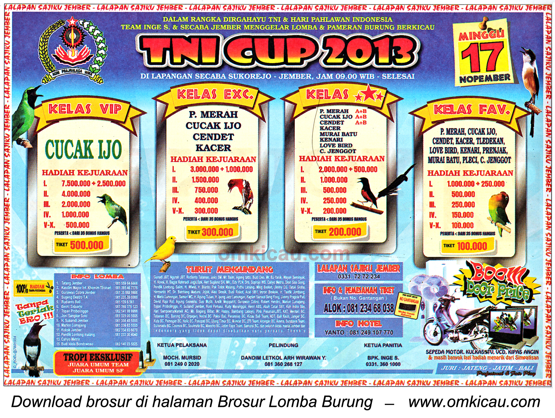 Brosur Lomba Burung Berkicau TNI Cup, Jember, 17 November 2013