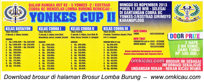 Brosur Lomba Burung Berkicau Yonkes Cup II, Malang, 3 November 2013