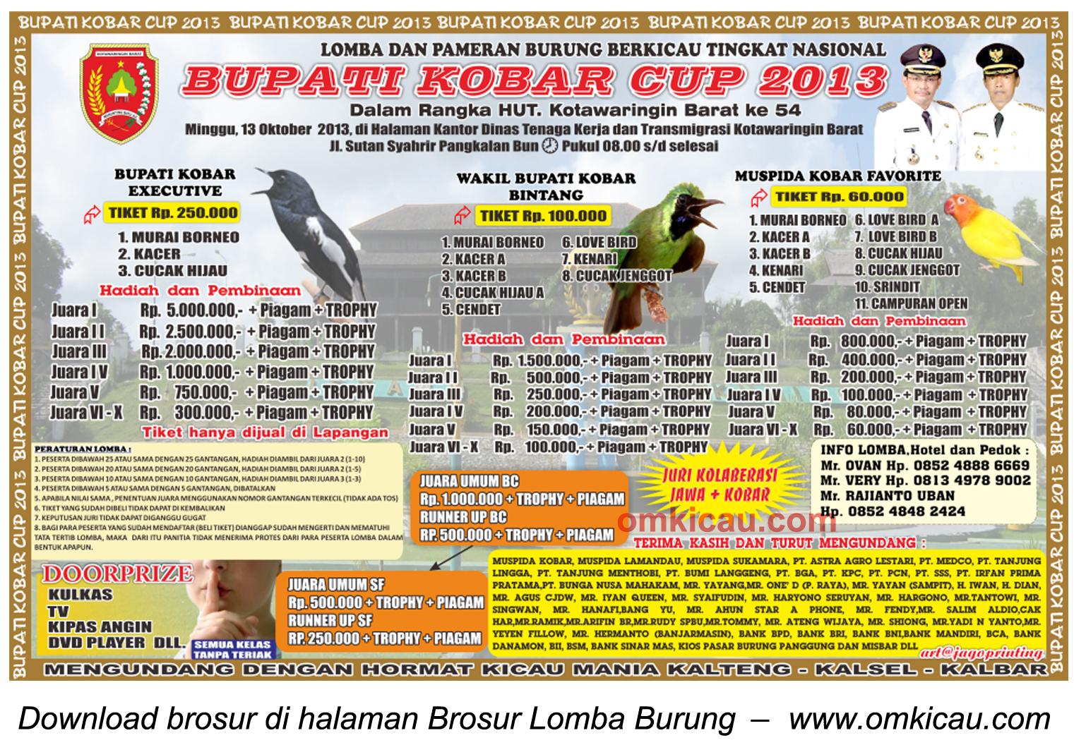 Brosur Lomba Burung Bupati Kobar Cup, Kotawaringin Barat, 13 Oktober 2013