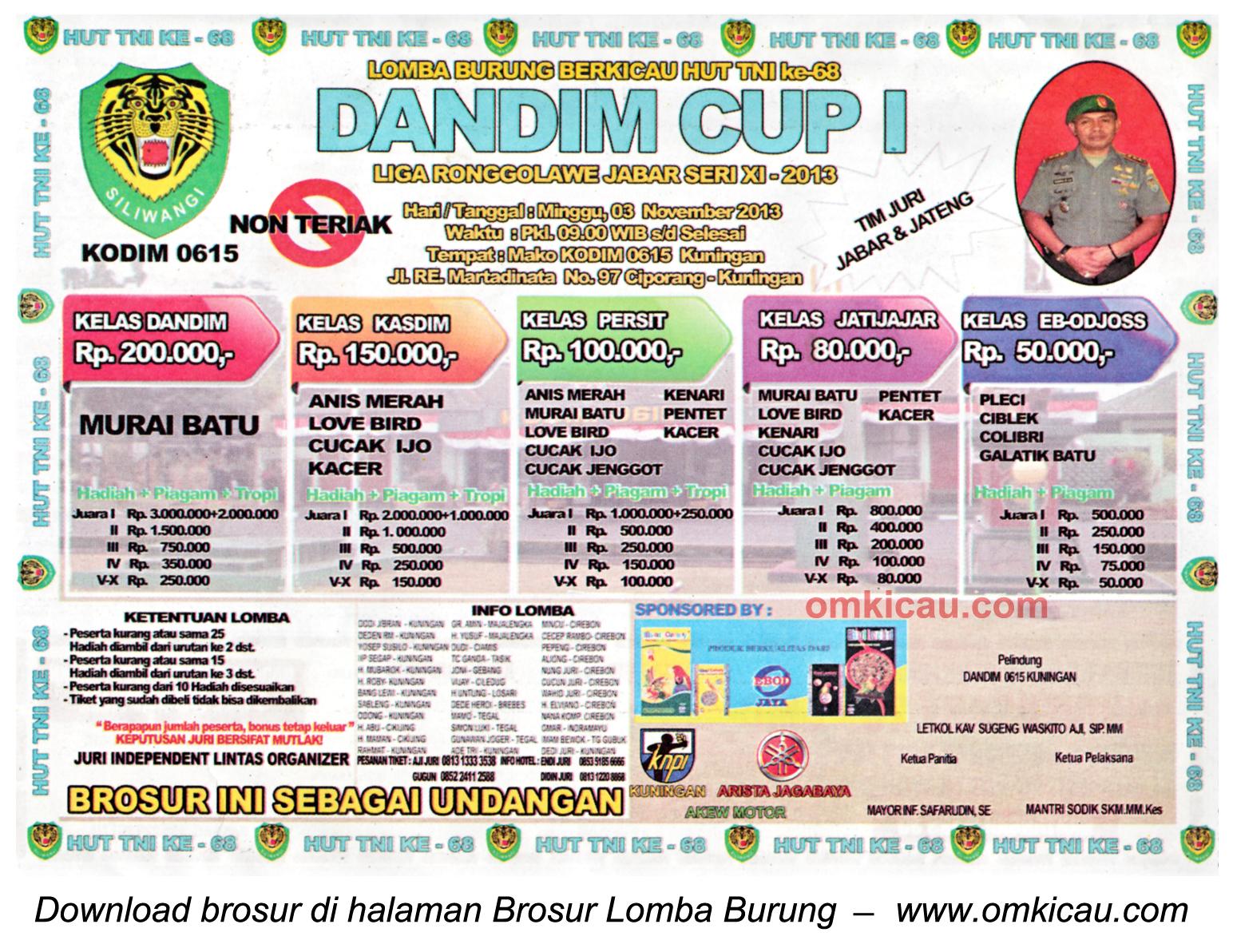 Brosur Lomba Burung Dandim Cup (LRJ 11), Kuningan, 3 November 2013