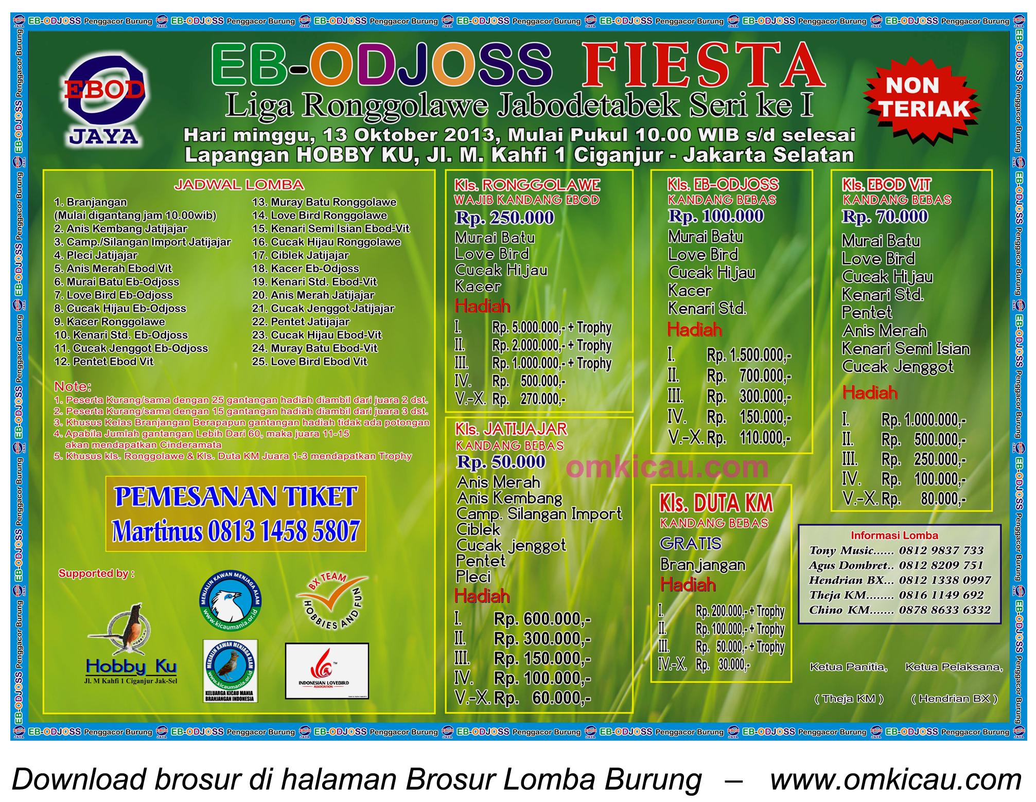 Brosur Lomba Burung EB-Odjoss Fiesta - Jakarta - 13 Oktober 2013
