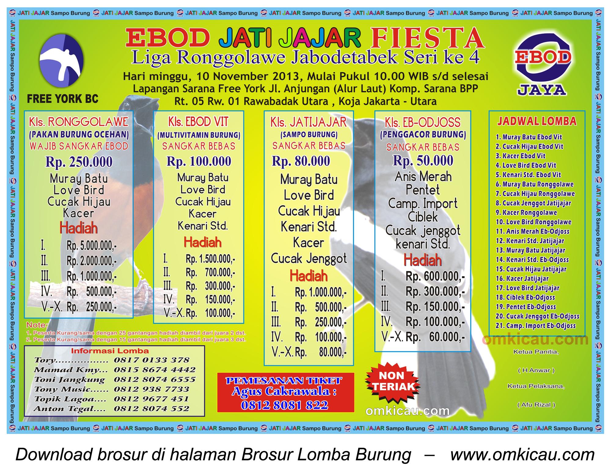 Brosur Lomba Burung Ebod Jatijajar Fiesta (LR Jabodetabek 4). Jakarta, 10 November 2013