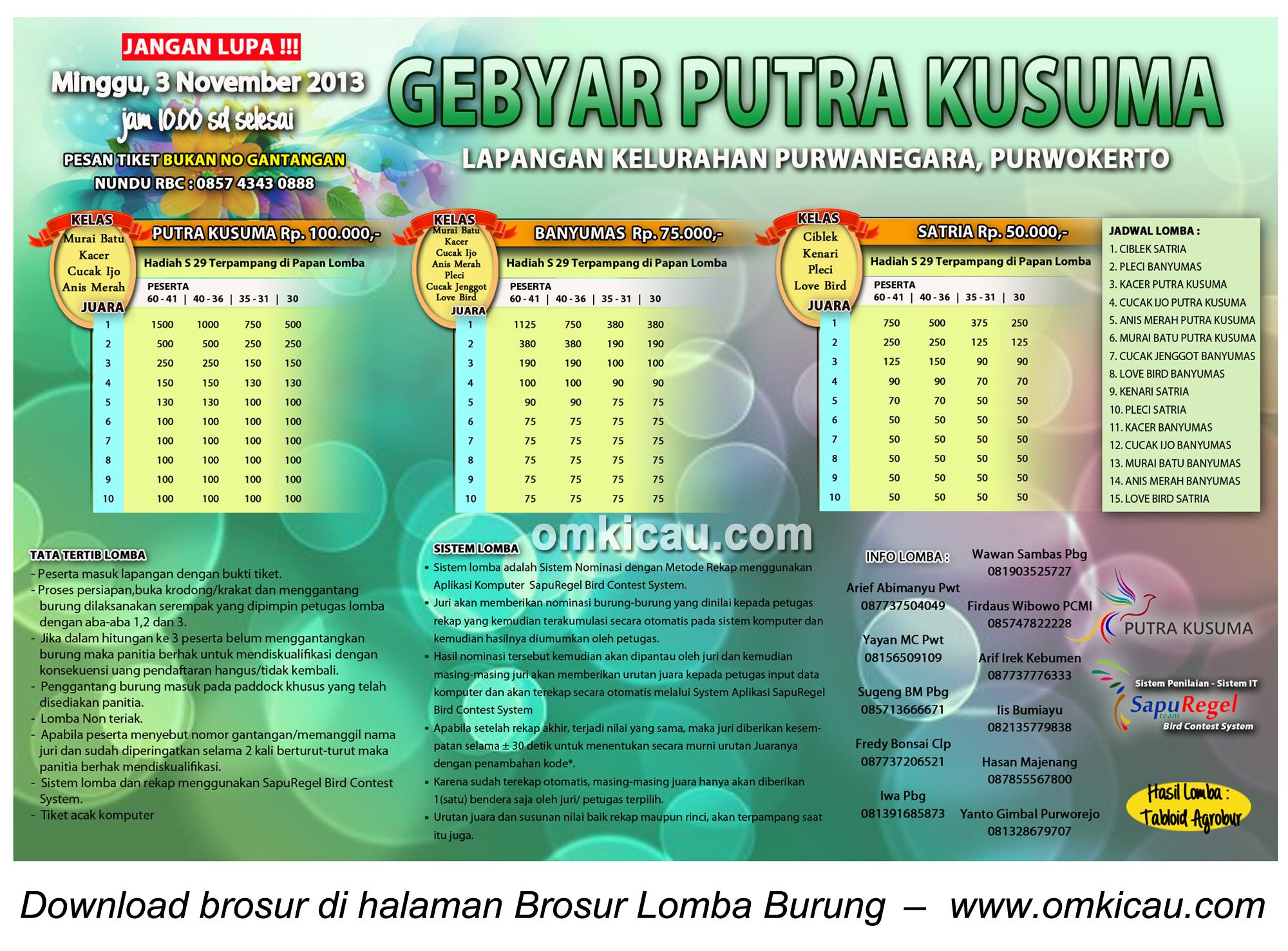 Brosur Lomba Burung Gebyar Putra Kusuma, Purwokerto, 3 November 2013