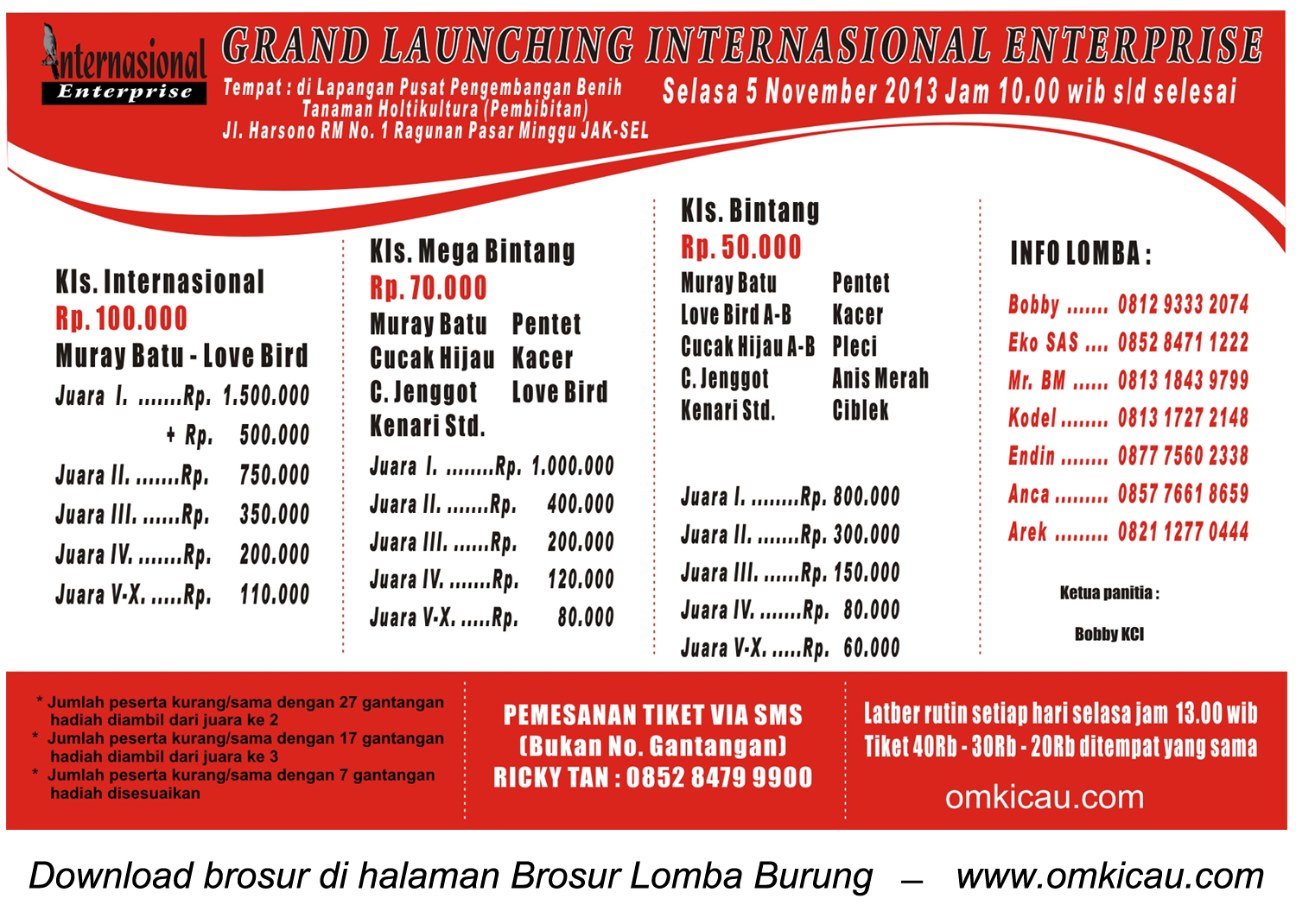 Brosur Lomba Burung Grand Launching Internasional Enterprise, Jakarta, 5 November 2013