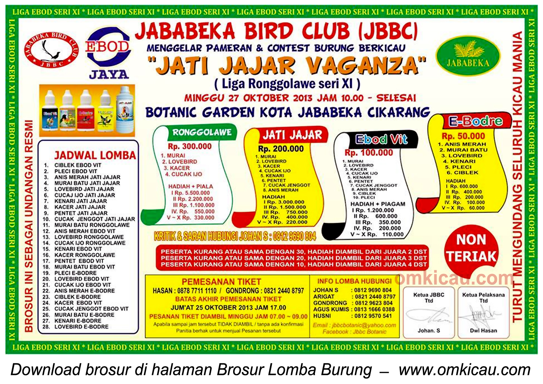 Brosur Lomba Burung Jatijajar Vaganza - LRJ 11, Jababeka-Cikarang, 27 Oktober 2013