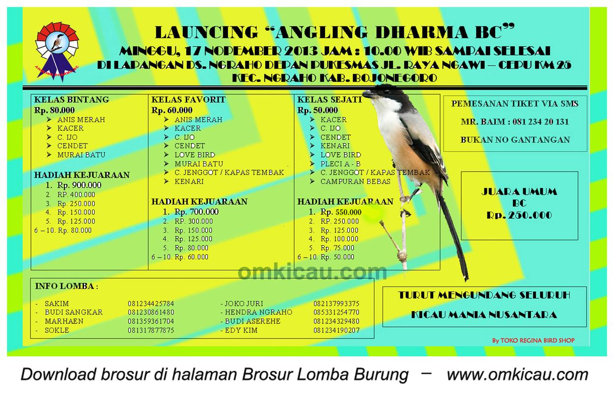 Brosur Lomba Burung Launching Angling Dharma BC, Bojonegoro, 17 November 2013