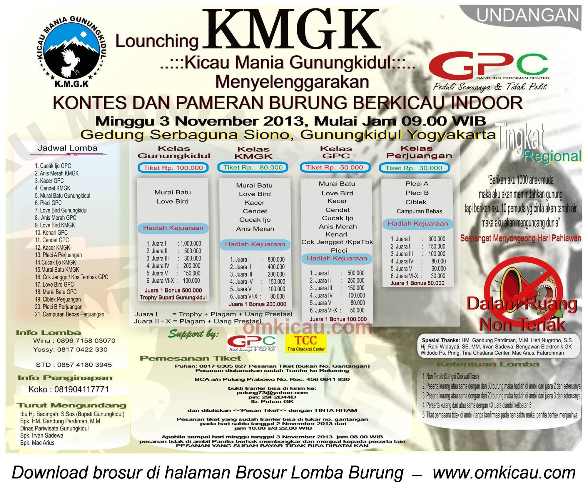 Brosur Lomba Burung Launching KMGK, Gunungkidul, 3 November 2013