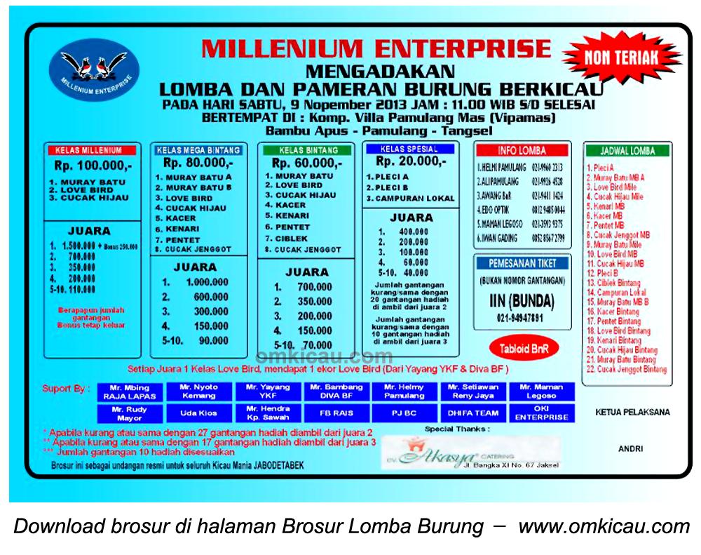 Brosur Lomba Burung Millenium Enterprise, Pamulang-Tangsel, 9 November 2013
