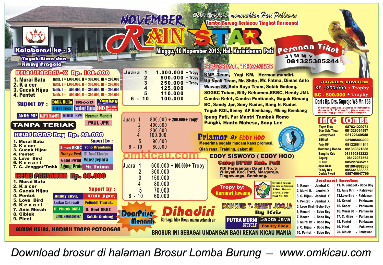 Brosur Lomba Burung November Rain Star, Pati, 10 November 2013