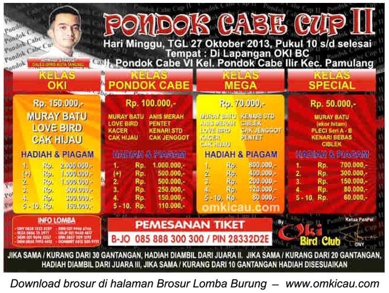Brosur Lomba Burung Pondok Cabe Cup II, Pamulang-Tangsel, 27 Oktober 2013