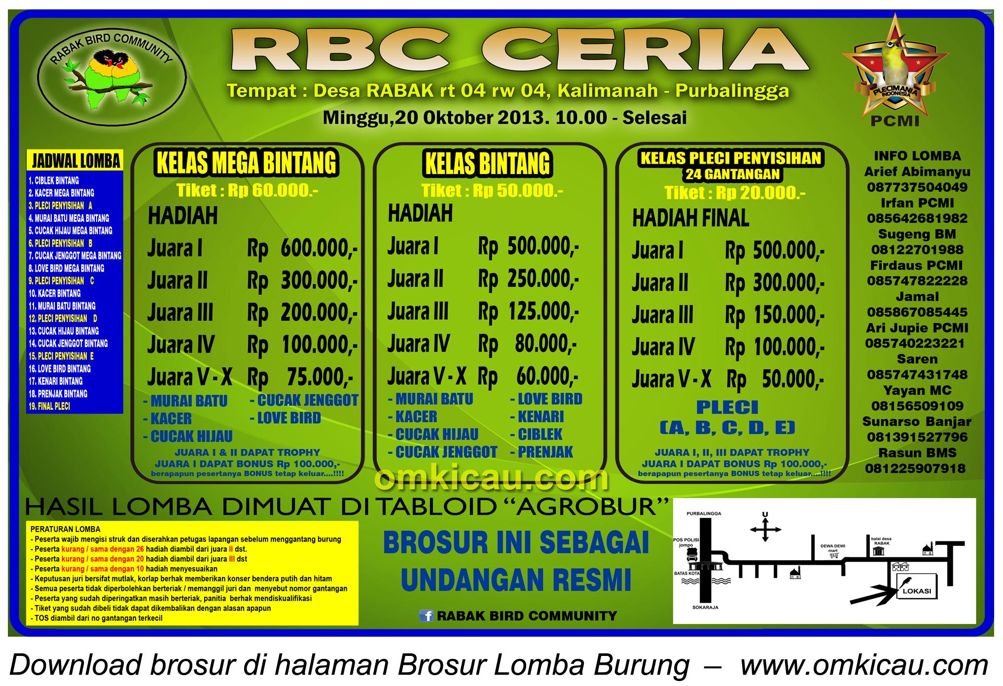 Brosur Lomba Burung RBC Ceria, Purbalingga, 20 Oktober 2013