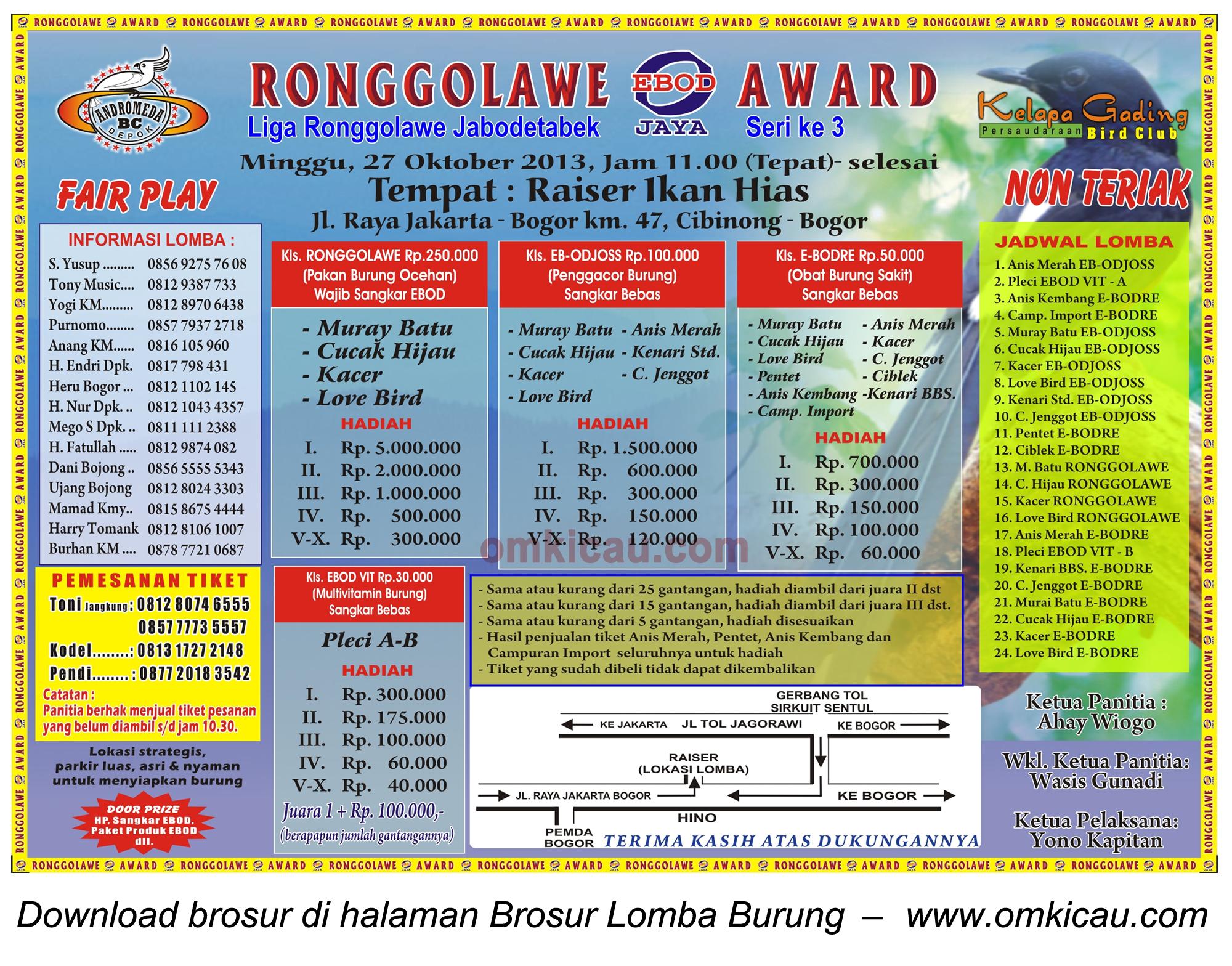 Brosur Lomba Burung Ronggolawe Award (LR Jabodetabek 3), Bogor, 27 Oktober 2013