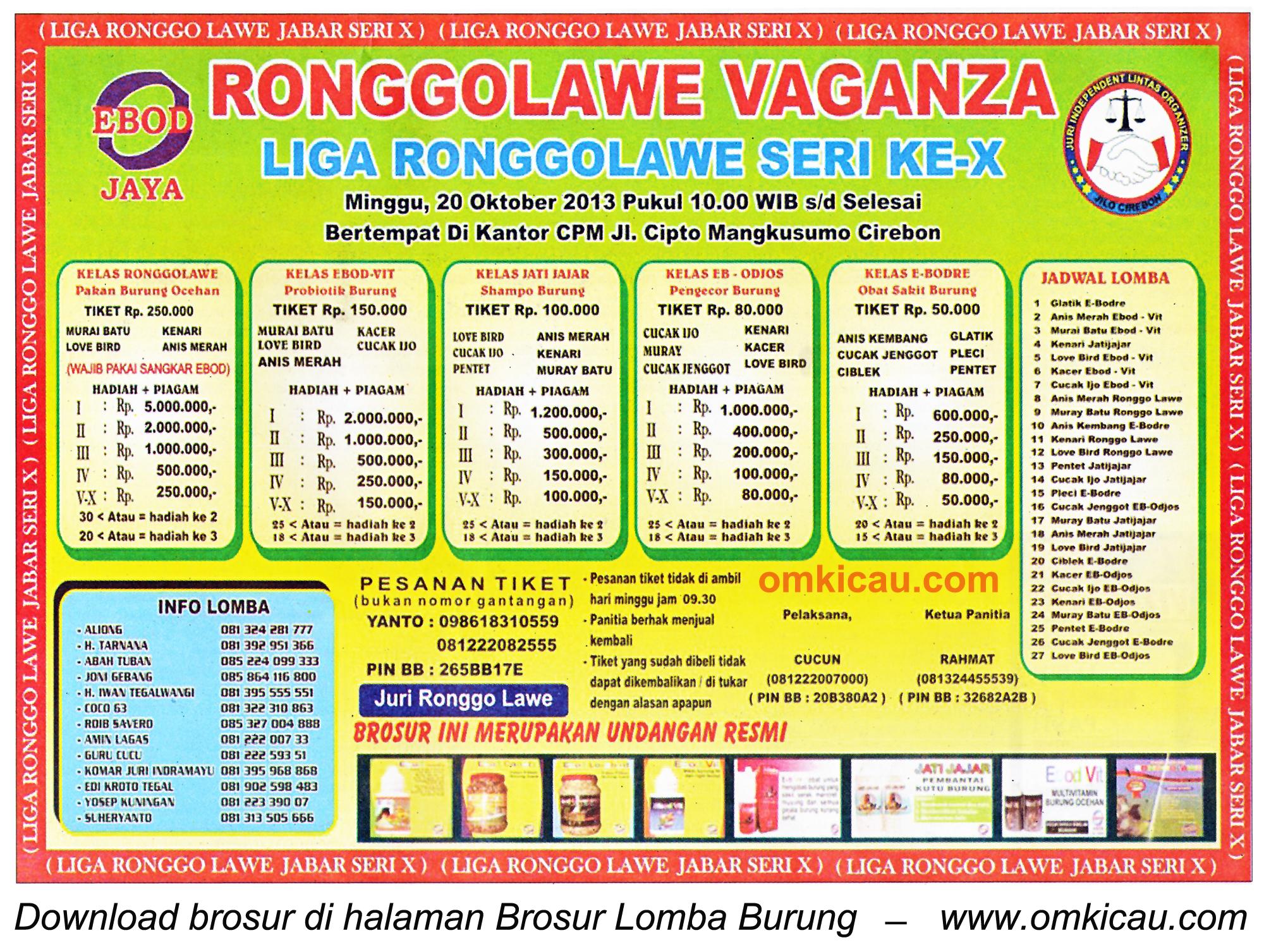Brosur Lomba Burung Ronggolawe Vaganza (LRJ 10), Cirebon, 20 Oktober 2013