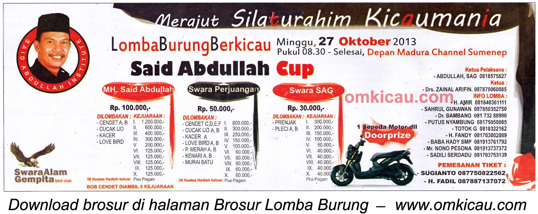 Brosur Lomba Burung Said Abdullah Cup, Sumenep, 27 Oktober 2013