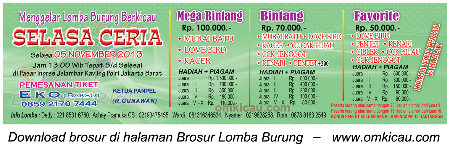 Brosur Lomba Burung Selasa Ceria, Jakarta Barat, 5 November 2013