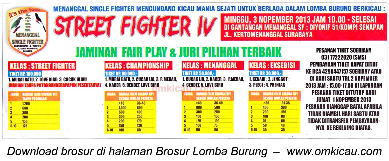 Brosur Lomba Burung Street Fighter IV, Surabaya, 3 November 2013