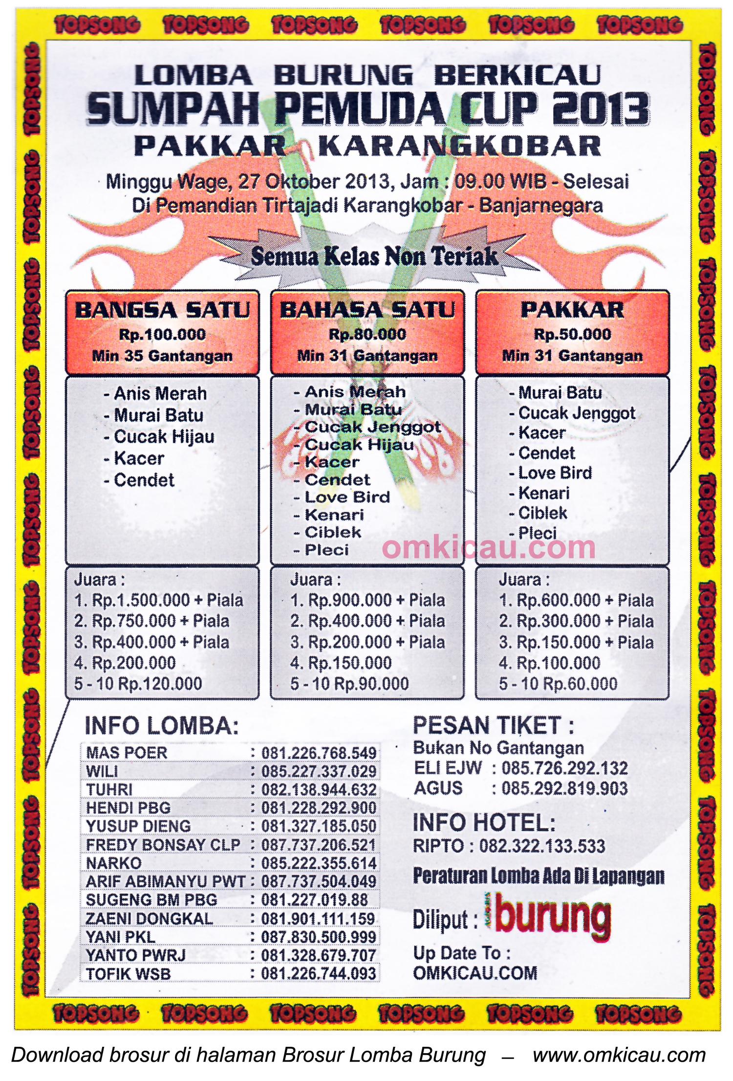 Brosur Lomba Burung Sumpah Pemuda Cup, Banjarnegara, 27 Oktober 2013
