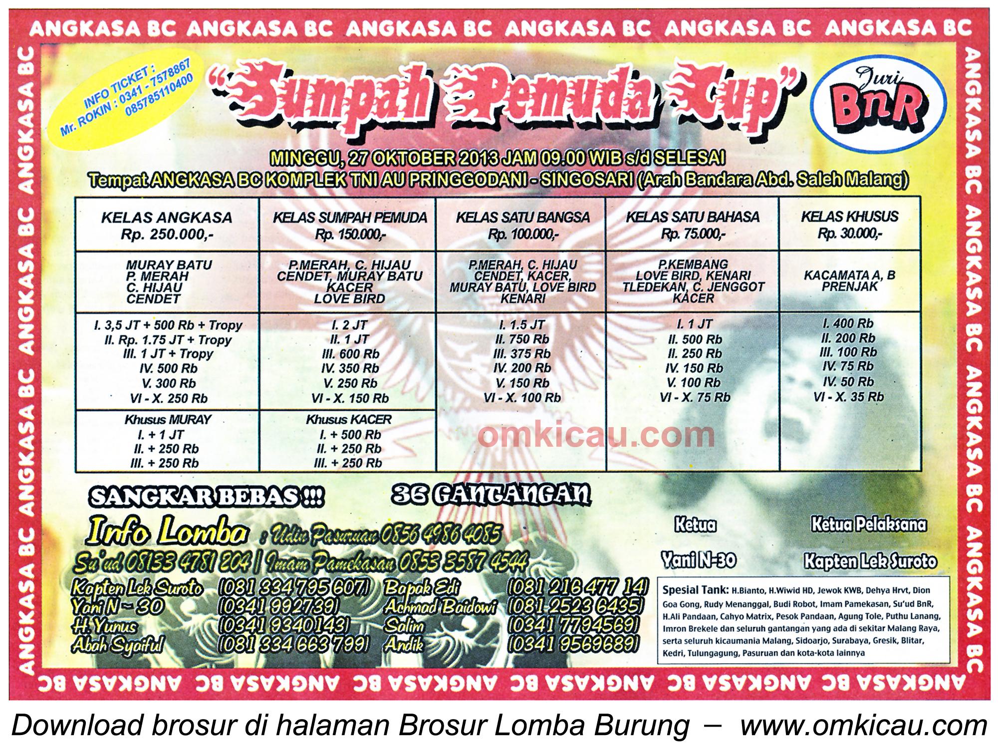 Brosur Lomba Burung Sumpah Pemuda Cup, Malang, 27 Oktober 2013