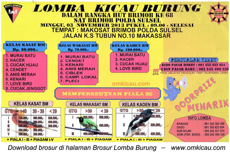 Brosur Lomba Kicau Burung HUT Ke-68 Brimob, Makassar, 3 November 2013