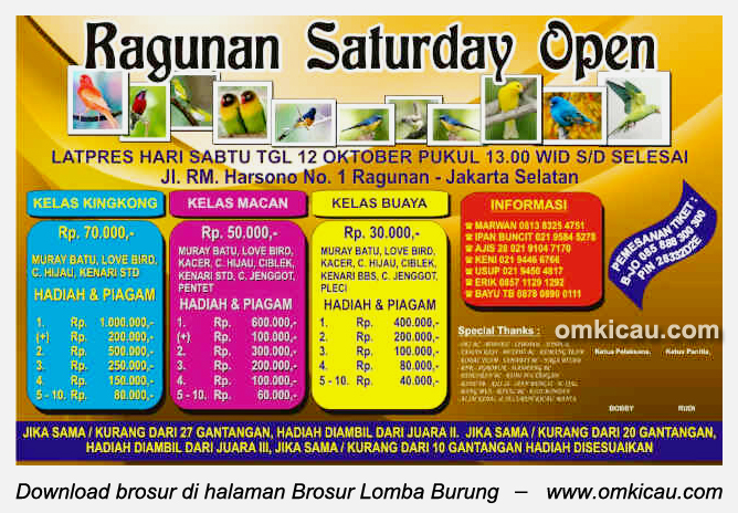 Brosur Ragunan Saturday Open, Jakarta, 12 Oktober 2013