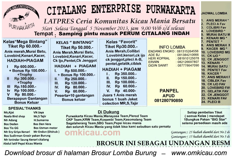 Brosur Latpres Burung Berkicau Citalang Enterprise, Purwakarta, 5 November 2013