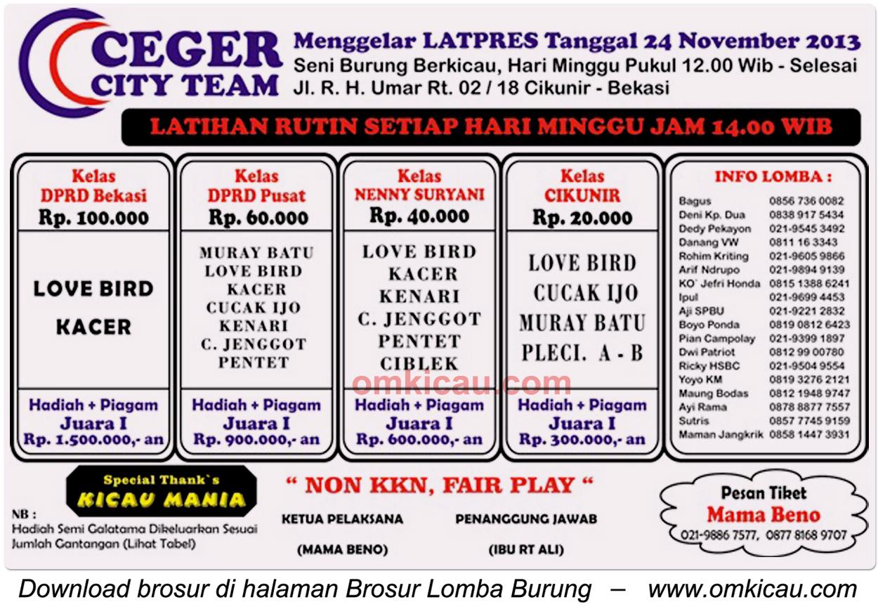 Brosur Latpres Ceger City Team, Bekasi, 24 November 2013