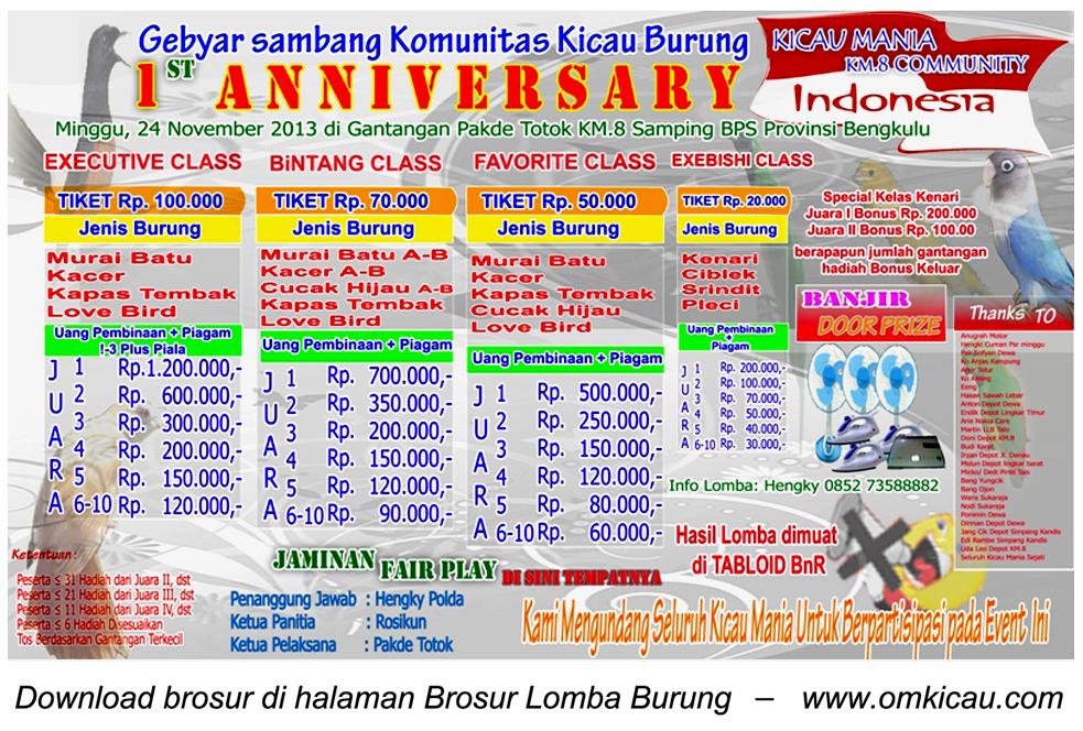 Brosur Lomba Burung 1st Anniversary KM8 Community, Bengkulu, 24 November 2013