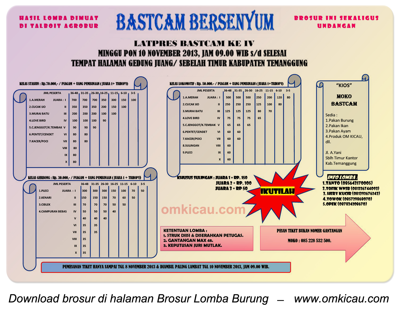 Brosur Lomba Burung Berkicau Bastcam Bersenyum, Temanggung, 10 November 2013