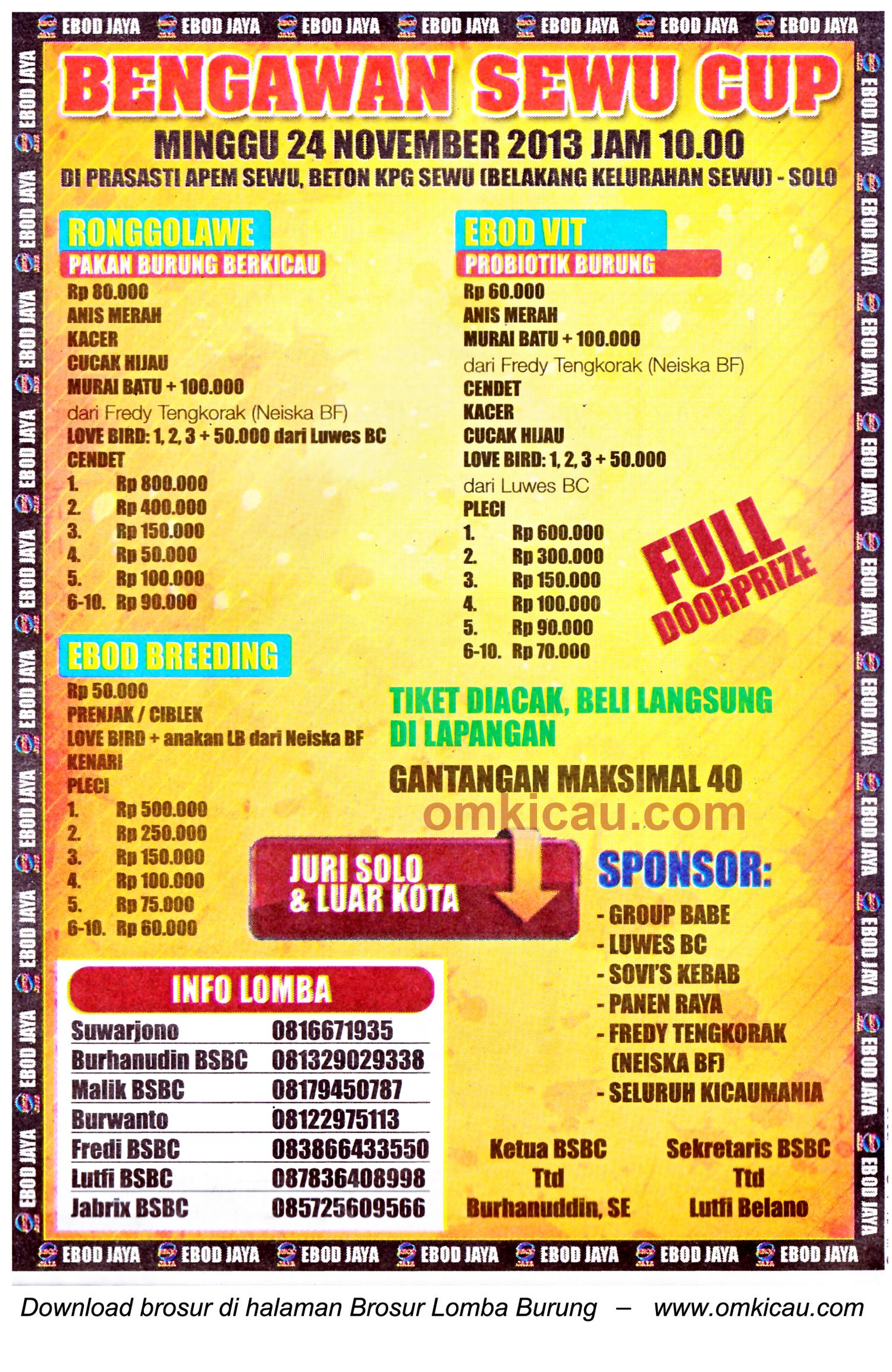 Brosur Lomba Burung Berkicau Bengawan Sewu Cup, Solo, 24 November 2013