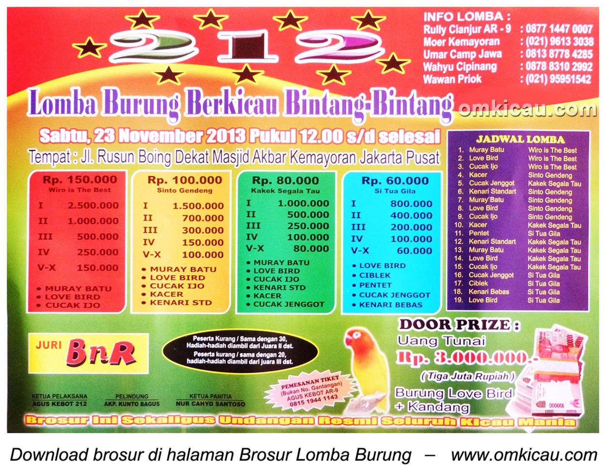 Brosur Lomba Burung Berkicau Bintang-Bintang, Jakarta, 23 November 2013