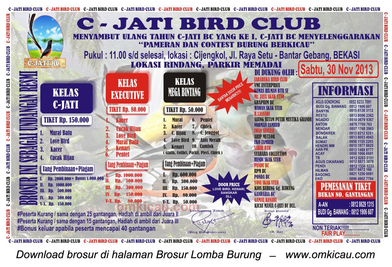 Brosur Lomba Burung Berkicau C-Jati BC, Bekasi, 30 November 2013