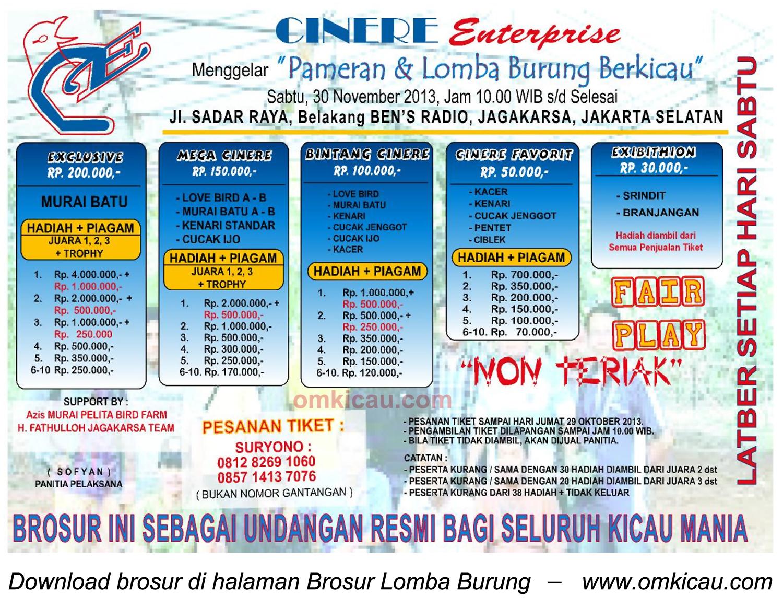 Brosur Lomba Burung Berkicau Cinere Enterprise, Jakarta, 30 November 2013