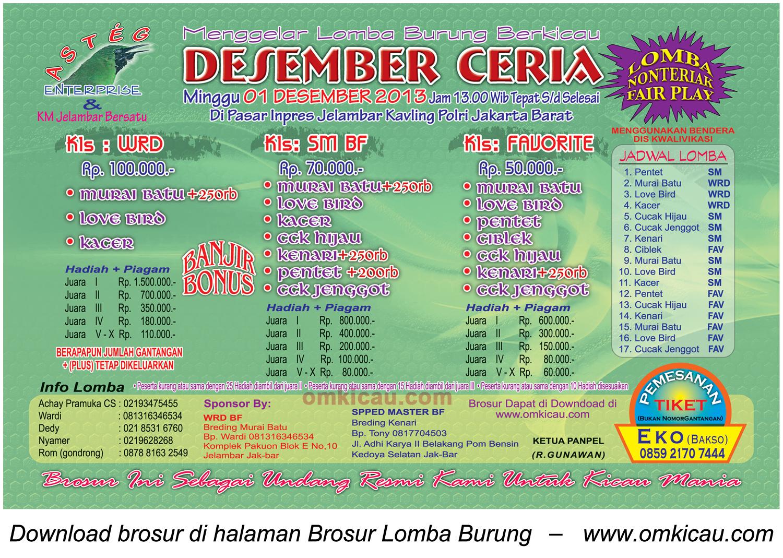 Brosur Lomba Burung Berkicau Desember Ceria, Jakarta, 1 Desember 2013