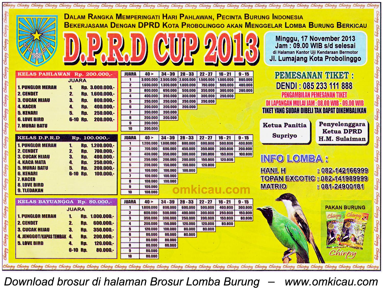 Brosur Lomba Burung Berkicau DPRD Cup, Kota Probolinggo, 17 November 2013