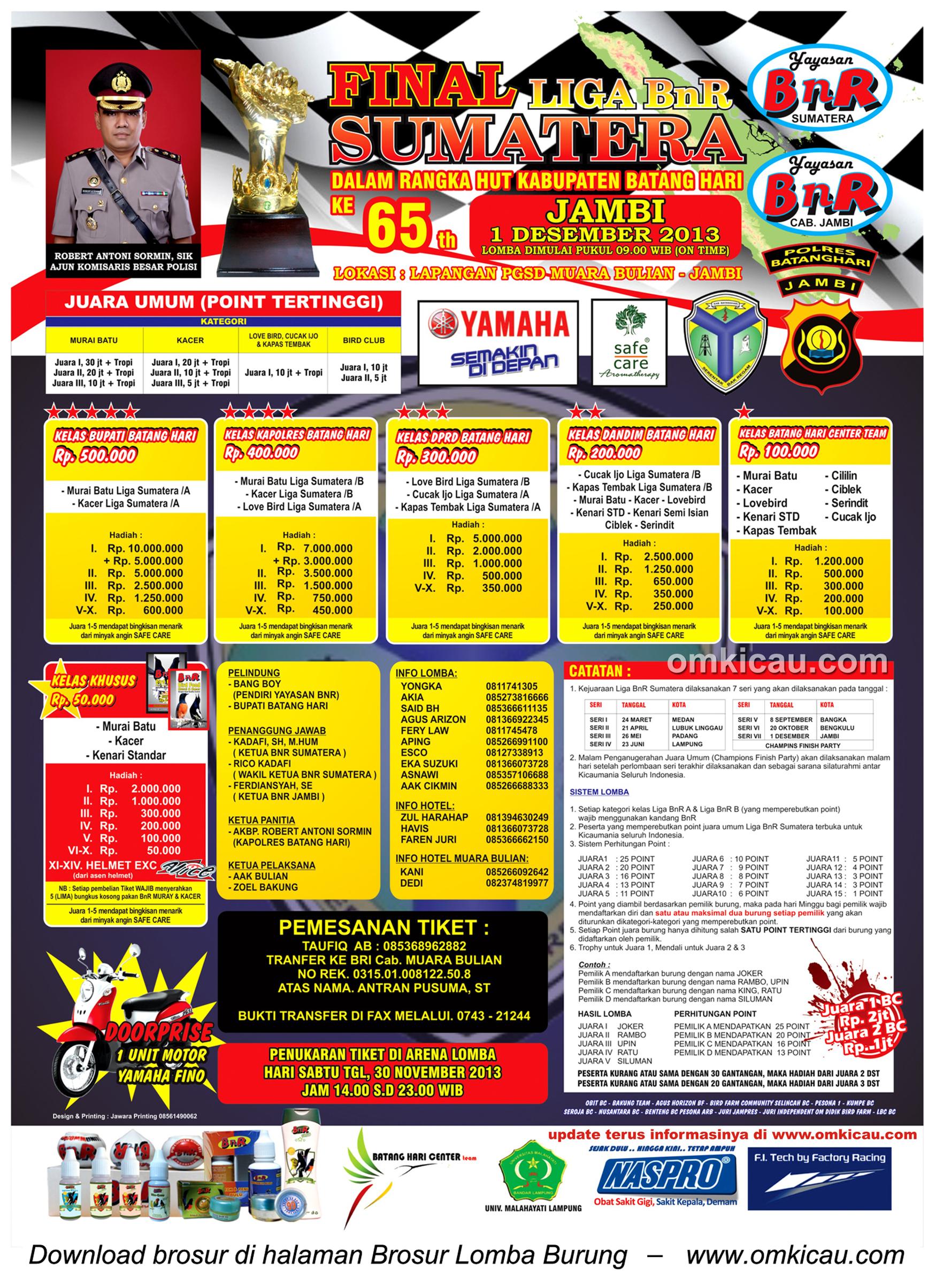 Brosur Lomba Burung Berkicau Final Liga Sumatera, Muara Bulian, 1 Desember 2013