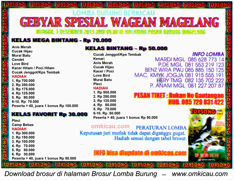 Brosur Lomba Burung Berkicau Gebyar Spesial Wagean, Magelang, 1 Desember 2013