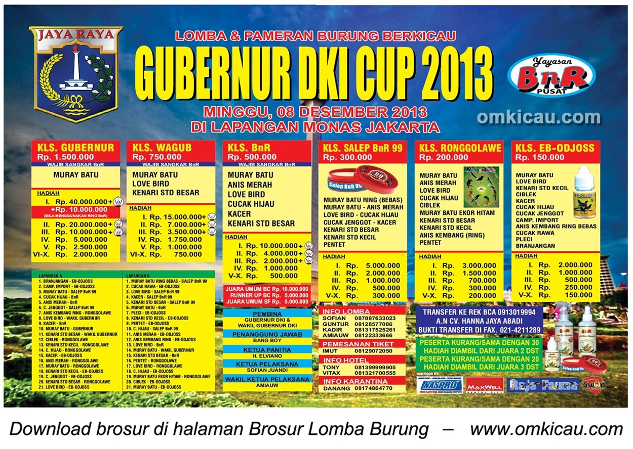 Brosur Lomba Burung Berkicau Gubernur DKI Cup, Jakarta, 8 Desember 2013