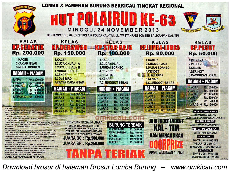 Brosur Lomba Burung Berkicau HUT Ke-63 Polairud, Balikpapan, 24 November 2013