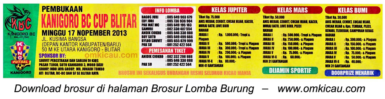 Brosur Lomba Burung Berkicau Kanigoro BC Cup, Blitar, 17 November 2013