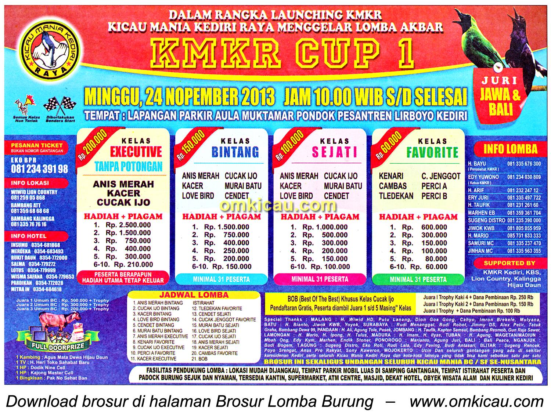 Brosur Lomba Burung Berkicau KMKR Cup 1, Kediri, 24 November 2013