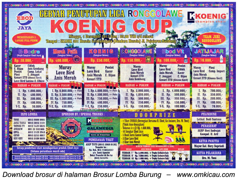 Brosur Lomba Burung Berkicau Koenig Cup (LRJ 13), Bandung, 1 Desember 2013