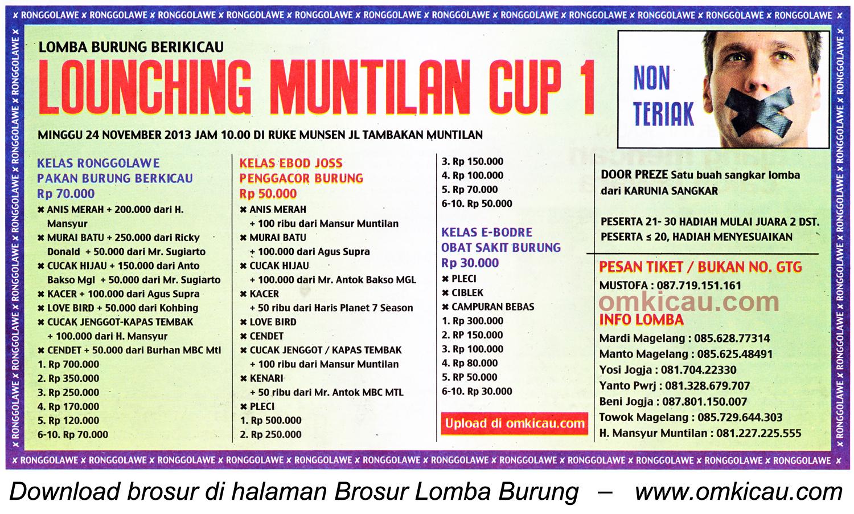 Brosur Lomba Burung Berkicau Launching Muntilan Cup 1, 24 November 2013